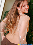 Buxom teen dream Dawson in see-through blouse
