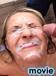Sweet blonde enjoys sperm shower on her face after sucking