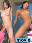 Wet teens getting in foursome