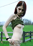 Cute amateur teenie Liz Vicious strips with no shame outdoors